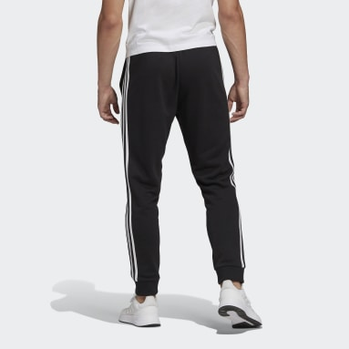 Men's Essentials Black Essentials French Terry Tapered Cuff 3-Stripes Pants