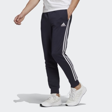 Men's Essentials Blue Essentials French Terry Tapered Cuff 3-Stripes Pants