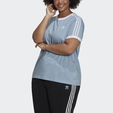 Women's Originals Blue Adicolor Classics 3-Stripes Tee (Plus Size)