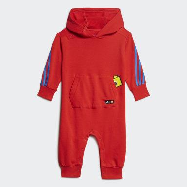 Infants เทรนนิง สีแดง ชุดจัมพ์สูทมีฮู้ด adidas x Classic LEGO®