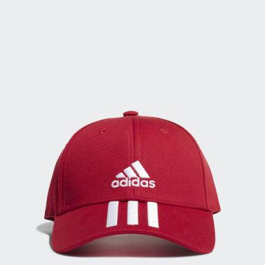 เทรนนิง สีแดง หมวกแก๊ปผ้าทวิล Baseball 3-Stripes