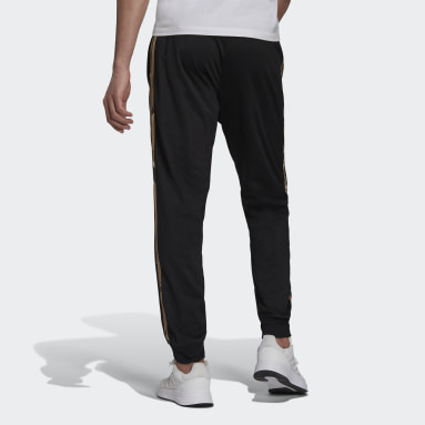 Men's Essentials Black Primegreen Essentials Warm-Up Tapered 3-Stripes Camo Track Pants