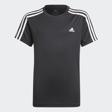 Youth 8-16 Years Gym & Training Black Designed 2 Move 3-Stripes T-Shirt