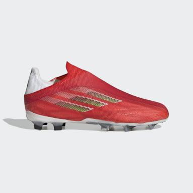 Bota de fútbol X Speedflow+ césped natural seco Rojo Niño Fútbol