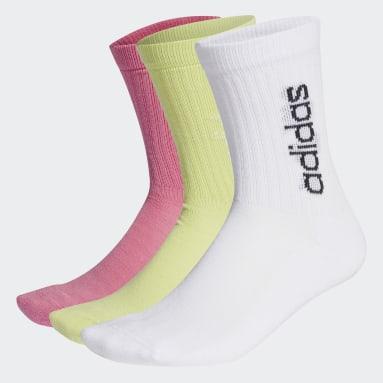 Sports Half-Cushioned Vertical Crew Socken, 3 Paar Weiß