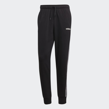 Pantalón Cónico Puño Ajustado Essentials 3 Rayas Negro Hombre Diseño Deportivo
