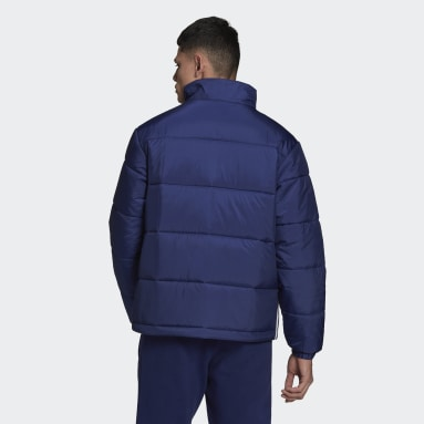 Men Originals Blue Padded Stand-Up Collar Puffer Jacket