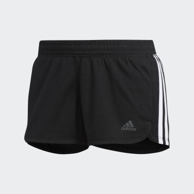 Frauen Running Pacer 3-Streifen Knit Shorts Schwarz