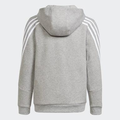 Boys Training Grey Future Icons 3-Stripes Full-Zip Hoodie