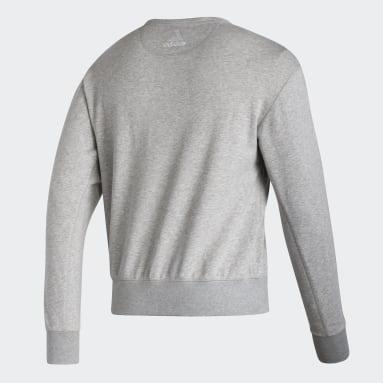 Men Hockey Grey Flames Vintage Crew Sweatshirt