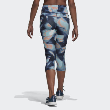 Women HIIT Blue FeelBrilliant AEROREADY You for You 3/4 Printed Sport Tights