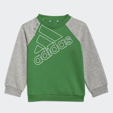 Kids Sportswear Green adidas Essentials Logo Sweatshirt and Pants (Gender Neutral)