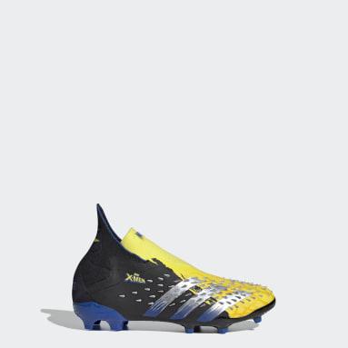 Kids Football Yellow Marvel Predator Freak+ Firm Ground Boots