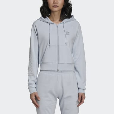 Women Originals Blue adidas 2000 Luxe Cropped Track Top