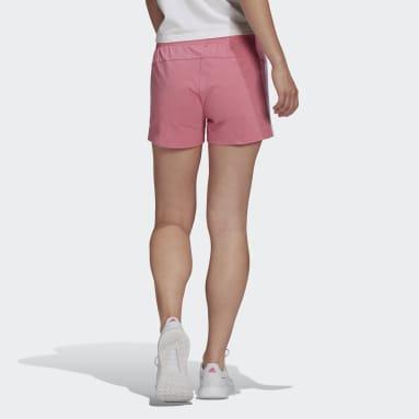 Women Sport Inspired Pink Essentials Slim 3-Stripes Shorts