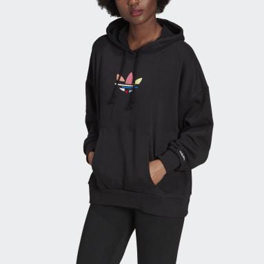 Women Originals Black Adicolor Shattered Trefoil Oversize Hoodie