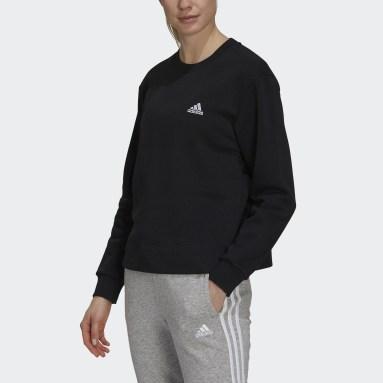 Women Sport Inspired Black Essentials Small Logo Fleece Cropped Sweatshirt