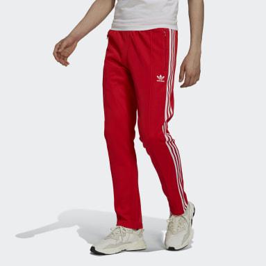 Muži Originals červená Sportovní kalhoty Adicolor Classics Beckenbauer Primeblue
