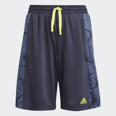 Boys Lifestyle Blue adidas Designed To Move Camouflage Shorts