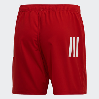 Men Rugby Red 3-Stripes Shorts