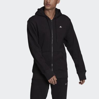 Men Sport Inspired Black adidas Sportswear Comfy & Chill Full Zip Hoodie
