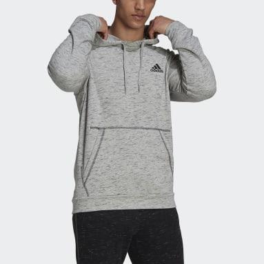 Men Sportswear Grey Essentials Mélange Embroidered Small Logo Hoodie