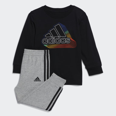 Infant & Toddler Training Black Cotton Tee and Joggers Set