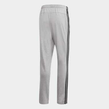 Men Lifestyle Grey Essentials 3-Stripes Tapered Open Hem Pants