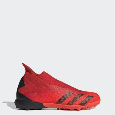 Football Red Predator Freak.3 Laceless Turf Boots