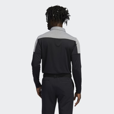 Men's Golf Black Primegreen Long Sleeve Polo Shirt