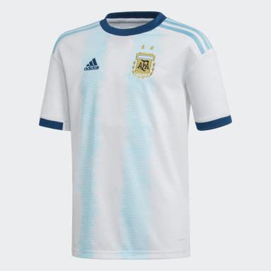 Jersey Unforme Titular Selección Argentina Blanco Niño Fútbol
