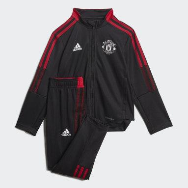 Kids Football Black Manchester United Tiro Tracksuit