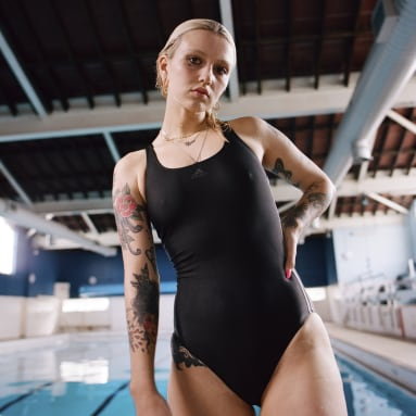 Women Swimming Black Athly V 3-Stripes Swimsuit