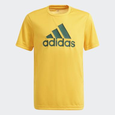 Boys Lifestyle Gold adidas Designed To Move Big Logo Tee
