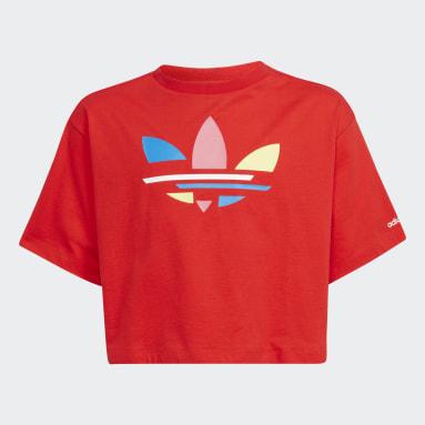 Meisjes Originals Rood Adicolor Cropped T-shirt