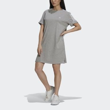 Vestido camiseta Adicolor Classics Roll-Up Sleeve Gris Mujer Originals