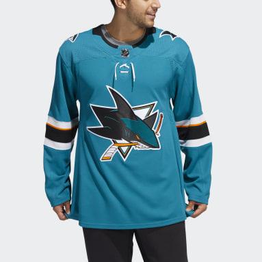 синий Оригинальный хоккейный свитер Sharks Home