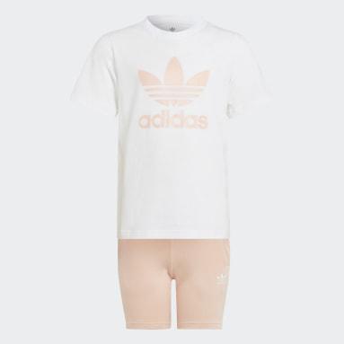 Children Originals White Adicolor Shorts and Tee Set