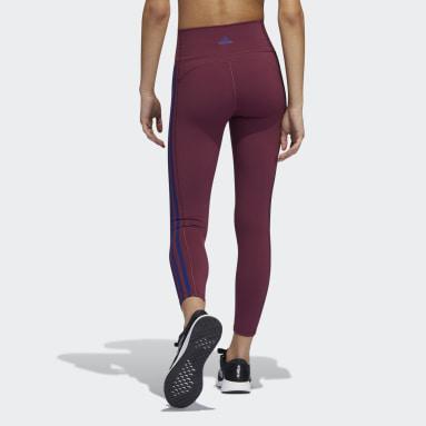 Women HIIT Burgundy Believe This 2.0 3-Stripes 7/8 Leggings