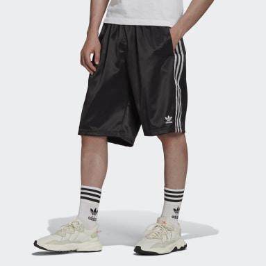 Men's Originals Black Adicolor Classics 3-Stripes Satin Shorts