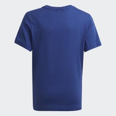Boys Fitness Og Træning Blå Logo T-shirt
