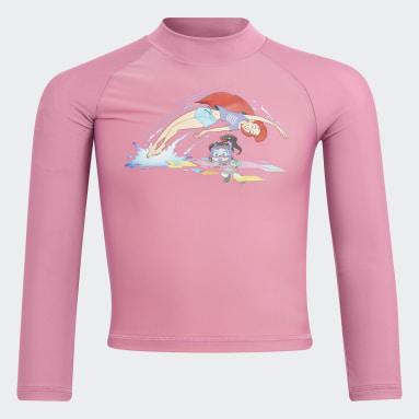 เด็กผู้หญิง ว่ายน้ำ สีชมพู เสื้อแรชการ์ดแขนยาว Disney Princess