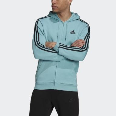 Veste à capuche Essentials Fleece 3-Stripes Full-Zip Vert Hommes Sportswear