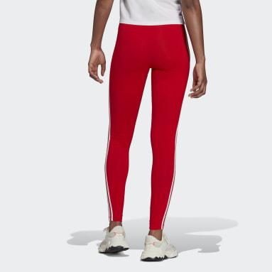 Frauen Originals adicolor Classics 3-Streifen Leggings Rot
