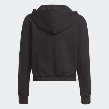 Sweat-shirt à capuche Warm-Up Dance Move Comfort Zip Side Slits Cotton Loose Noir Filles Fitness Et Training