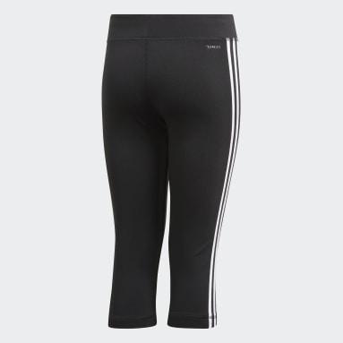 Girls Yoga Black Equipment 3-Stripes 3/4 Leggings