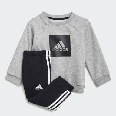Kids Gym & Training Grey 3-Stripes Fleece Jogger Set