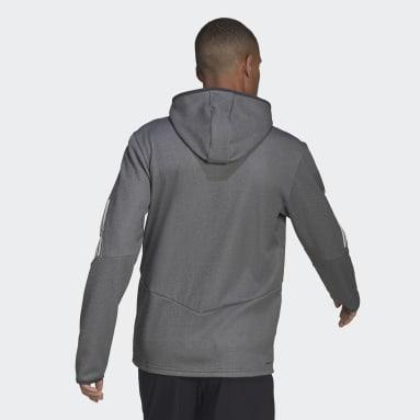 Men Gym & Training Grey Full-Zip Hoodie