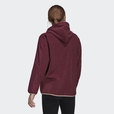 Kvinder Sportswear Burgundy Brand Love Giant Logo Polar Fleece hættetrøje