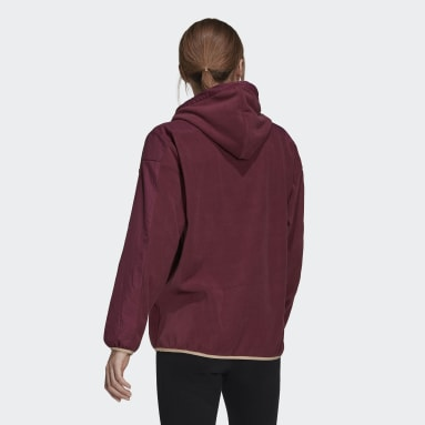 Dam Sportswear Burgundy Brand Love Giant Logo Polar Fleece Hoodie